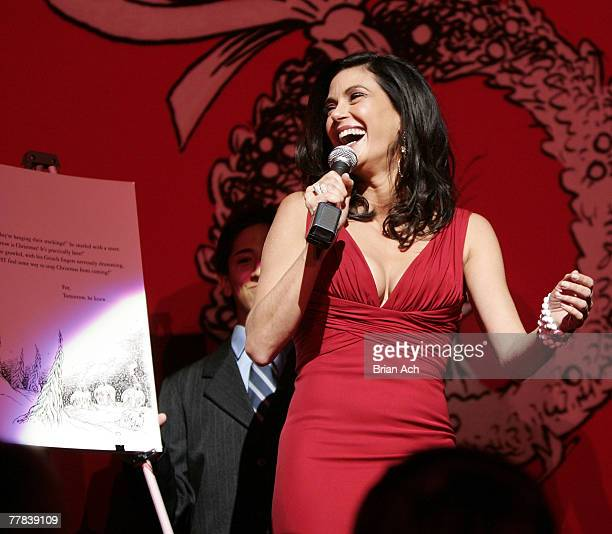Actress Teri Hatcher reads from the book How the Grinch Stole Christmas at the Broadway opening night premiere of How the Grinch Stole Christmas The...