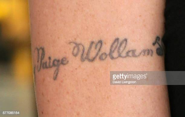 Actress Teri Polo's tattoo with her daughter's name Bayley Paige Wollam is seen at Hollywood Today Live at W Hollywood on July 18 2016 in Hollywood...