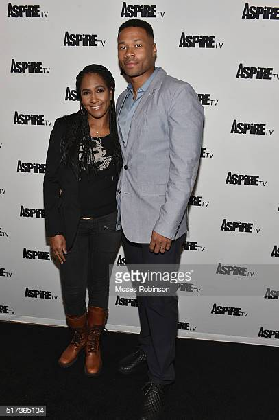 Actress Terri J Vaughn and husband Actor Karon Rileyattends the Premiere Screening Of The Aspire Original Magic In The Making at The Woodruff Arts...
