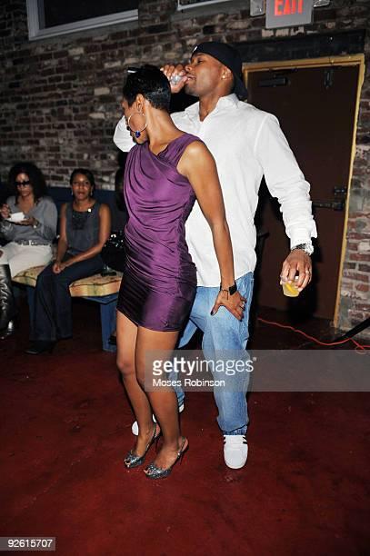 Actress Terri Vaughn and husband Karon Riley attend Vaughn's 40th birthday soiree at Rare on October 16 2009 in Atlanta Georgia