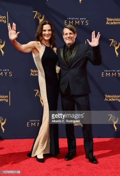 Actress Terry Farrell and director Adam Nimoy attend the 2018 Creative Arts Emmy Awards at Microsoft Theater on September 8 2018 in Los Angeles...