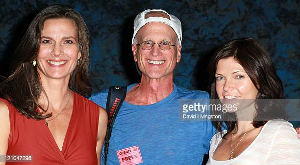 Actress Terry Farrell photographer David Livingston and actress Nicole de Boer attend Day 2 of the Official Star Trek Convention at the Rio Las Vegas...