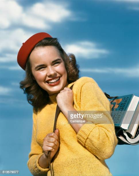 Actress Terry Moore as a girl going back to school Los Angeles California 1949