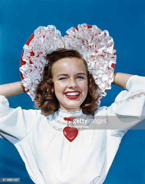 Actress Terry Moore Now that's a valentine bonnet Los Angeles California 1949