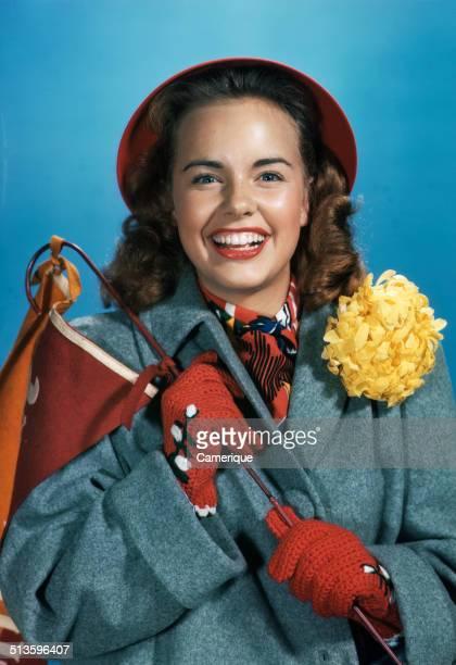 Actress Terry Moore showing school spirit Los Angeles California 1949