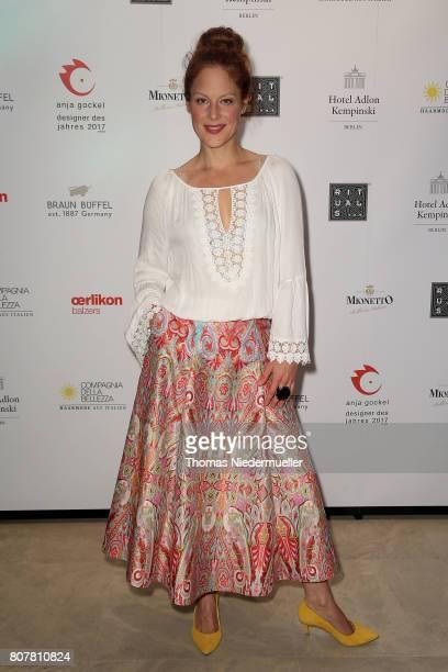 Actress Tessa Mittelstaedt attends the Anja Gockel show during the MercedesBenz Fashion Week Berlin Spring/Summer 2018 at Hotel Adlon on July 4 2017...
