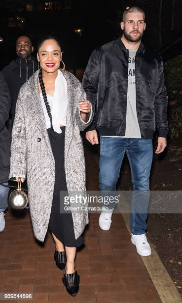 Actress Tessa Thompson and actor/boxer Florian Munteanu are seen leaving Zahav restaurant after 'Creed II' cast dinner on March 28 2018 in...
