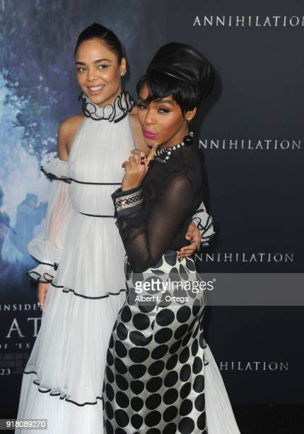 Actress Tessa Thompson and singer/actress Janelle Monae arrive for the Premiere Of Paramount Pictures' 'Annihilation' held at Regency Village Theatre...