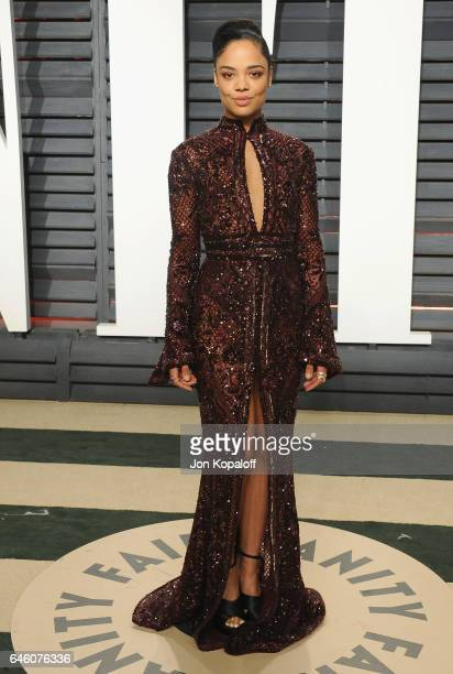 Actress Tessa Thompson arrives at the 2017 Vanity Fair Oscar Party Hosted By Graydon Carter at Wallis Annenberg Center for the Performing Arts on...