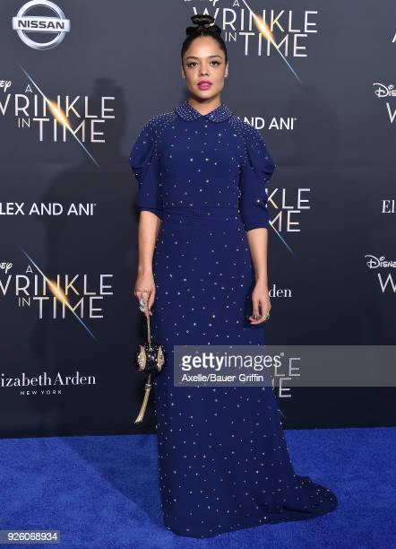 Actress Tessa Thompson arrives at the premiere of Disney's 'A Wrinkle In Time' at El Capitan Theatre on February 26 2018 in Los Angeles California