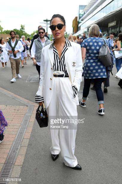 Actress Tessa Thompson attends day seven of the Wimbledon Tennis Championships at All England Lawn Tennis and Croquet Club on July 08 2019 in London...