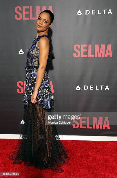 Actress Tessa Thompson attends Selma New York Premiere Inside Arrivals at Ziegfeld Theater on December 14 2014 in New York City