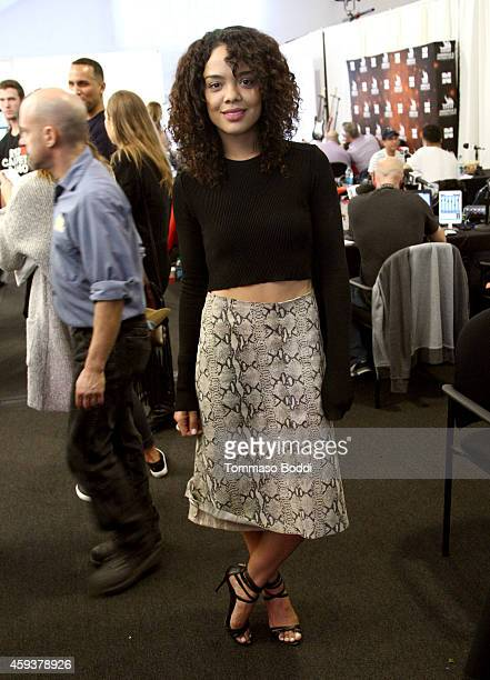 Actress Tessa Thompson attends the 2014 American Music Awards Radio Row at Nokia Theatre LA Live on November 21 2014 in Los Angeles California