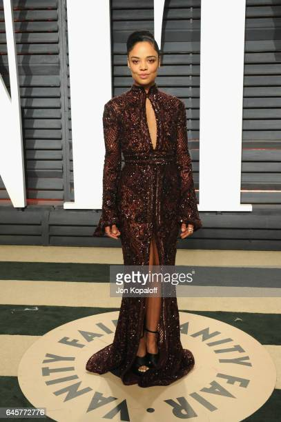 Actress Tessa Thompson attends the 2017 Vanity Fair Oscar Party hosted by Graydon Carter at Wallis Annenberg Center for the Performing Arts on...