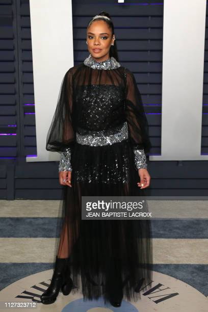 US actress Tessa Thompson attends the 2019 Vanity Fair Oscar Party following the 91st Academy Awards at The Wallis Annenberg Center for the...