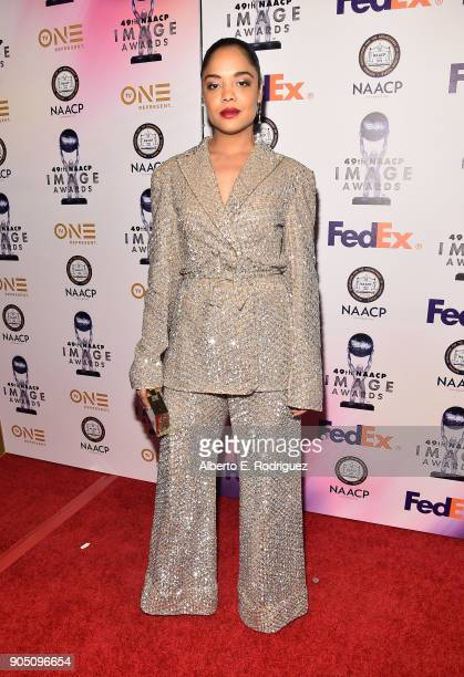 Actress Tessa Thompson attends the 49th NAACP Image Awards NonTelevised Award Show at The Pasadena Civic Auditorium on January 14 2018 in Pasadena...