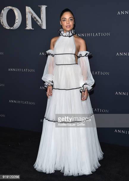 Actress Tessa Thompson attends the Los Angeles premiere of 'Annihilation' at Regency Village Theatre on February 13 2018 in Westwood California