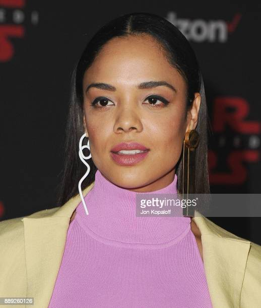"""Actress Tessa Thompson attends the Los Angeles Premiere """"Star Wars: The Last Jedi"""" at The Shrine Auditorium on December 9, 2017 in Los Angeles,..."""