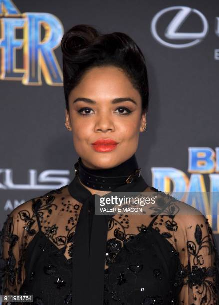 Actress Tessa Thompson attends the world premiere of Marvel Studios Black Panther, on January 29 in Hollywood, California. / AFP PHOTO / VALERIE MACON