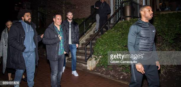 Actress Tessa Thompson film director Steven Caple Jr actor/boxer Florian Munteanu and actor Michael B Jordan are seen leaving Zahav restaurant after...