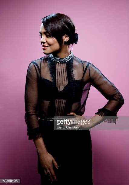 Actress Tessa Thompson from the film 'Thor Ragnarok' is photographed in the LA Times photo studio at ComicCon 2017 in San Diego CA on July 22 2017...
