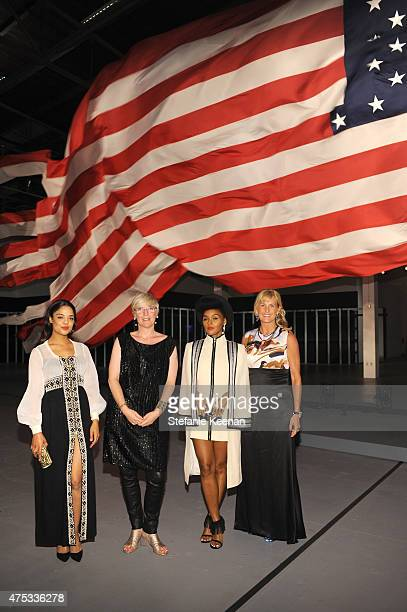 Actress Tessa Thompson MOCA Chief Curator Helen Molesworth recording artist Janelle Monae and Carolyn Powers attend the 2015 MOCA Gala presented by...