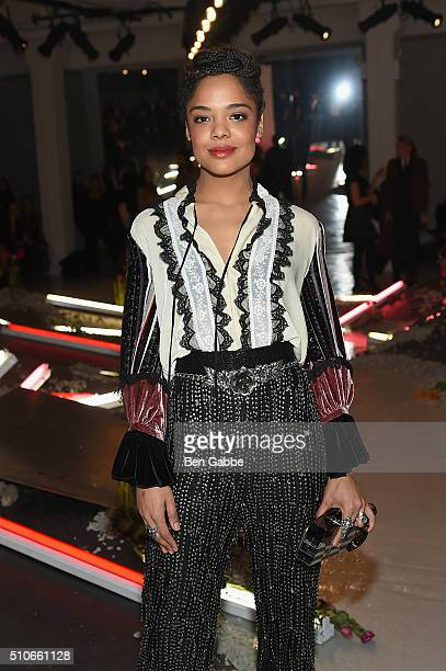 Actress, Tessa Thompson, poses at the Rodarte Fall 2016 fashion show during New York Fashion Week on February 16, 2016 in New York City.