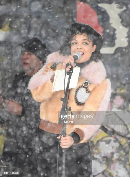 Actress Tessa Thompson speaks onstage at the Respect Rally in Park City on January 20th 2018 in Park City Utah