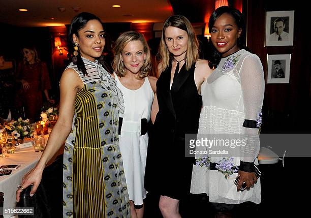 Actress Tessa Thompson Style Editor The Hollywood Reporter Carol McColgin stylist Annabelle Harron and actress Aja Naomi King attend The Hollywood...