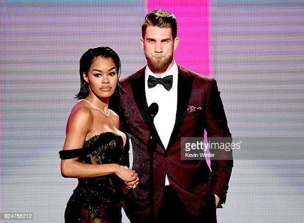 Actress Teyana Taylor and MLB player Bryce Harper speak onstage during the 2016 American Music Awards at Microsoft Theater on November 20, 2016 in...
