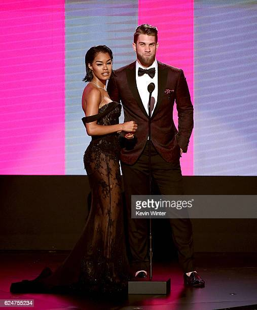 Actress Teyana Taylor and MLB player Bryce Harper speak onstage during the 2016 American Music Awards at Microsoft Theater on November 20 2016 in Los...