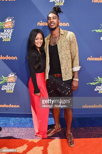 Actress Teyana Taylor and NBA player Iman Shumpert attend the Nickelodeon Kids' Choice Sports Awards 2015 at UCLA's Pauley Pavilion on July 16 2015...