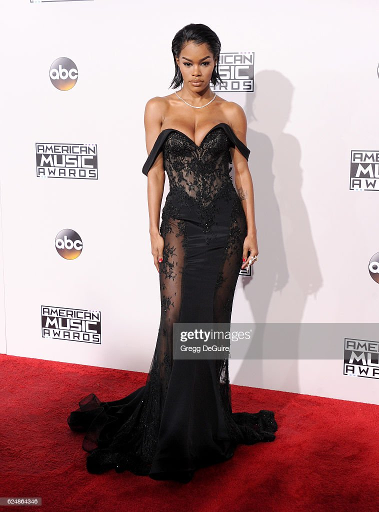 Actress Teyana Taylor arrives at the 2016 American Music Awards at Microsoft Theater on November 20, 2016 in Los Angeles, California.