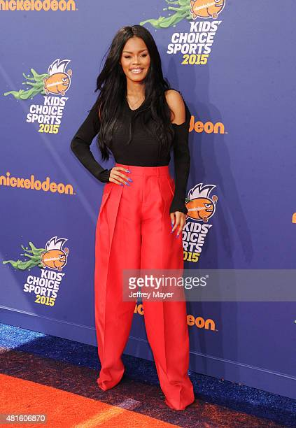 Actress Teyana Taylor arrives at the Nickelodeon Kids' Choice Sports Awards 2015 at UCLA's Pauley Pavilion on July 16 2015 in Westwood California