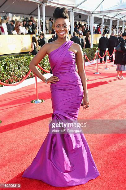 Actress Teyonah Parris arrives at the 19th Annual Screen Actors Guild Awards held at The Shrine Auditorium on January 27, 2013 in Los Angeles,...
