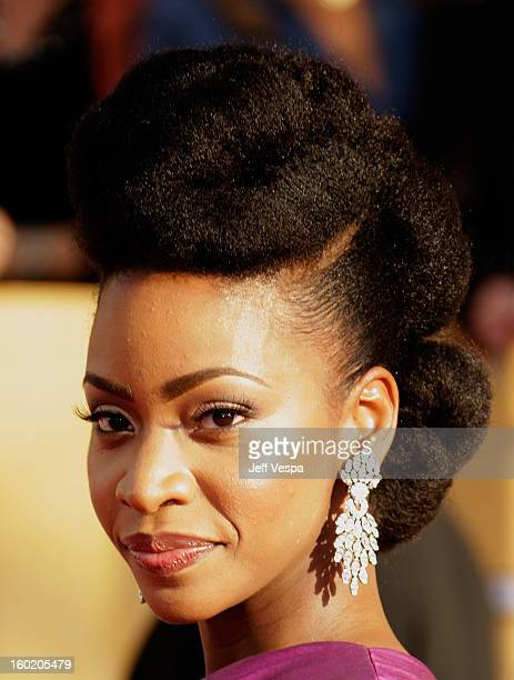 Actress Teyonah Parris arrives at the19th Annual Screen Actors Guild Awards held at The Shrine Auditorium on January 27, 2013 in Los Angeles,...
