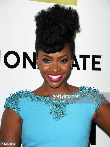 Actress Teyonah Parris attends the season 7 premiere of 'Mad Men' at ArcLight Cinemas on April 2 2014 in Hollywood California