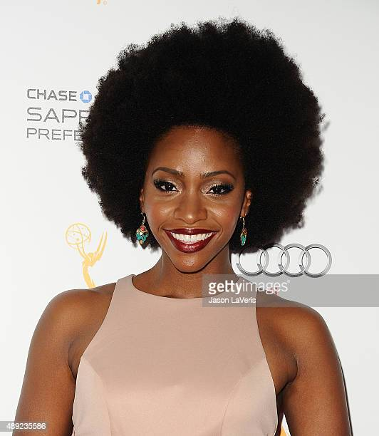 Actress Teyonah Parris attends the Television Academy's celebration for the 67th Emmy Award nominees for outstanding performances at Pacific Design...