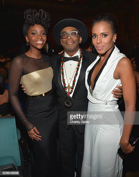 Actress Teyonah Parris director Spike Lee and actress Kerry Washington attend the 47th NAACP Image Awards presented by TV One at Pasadena Civic...