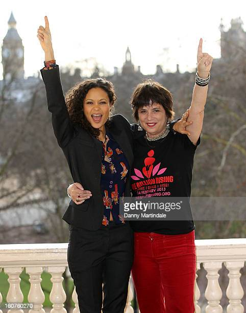 Actress Thandie Newton and Eve Ensler attends a photocall to promote One Billion Rising a global movement aiming to end violence towards women at ICA...