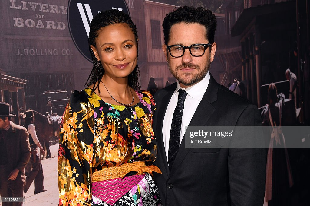 Actress Thandie Newton (L) and executive producer J.J. Abrams attends the premiere of HBO's 'Westworld' at TCL Chinese Theatre on September 28, 2016 in Hollywood, California.