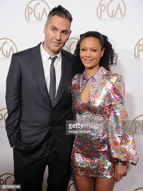 Actress Thandie Newton and Ol Parker arrive at the 28th Annual Producers Guild Awards at The Beverly Hilton Hotel on January 28 2017 in Beverly Hills...