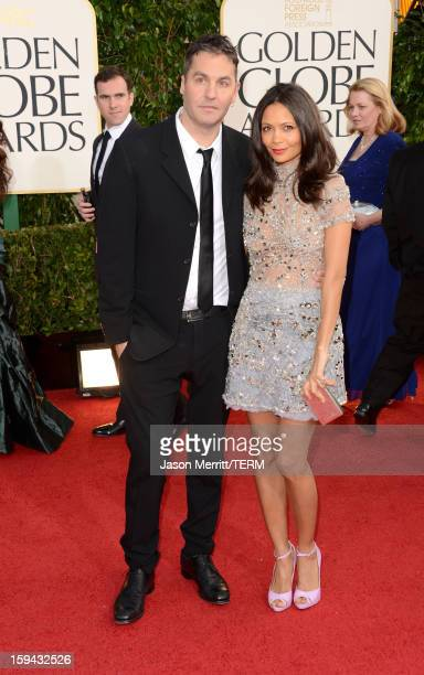 Actress Thandie Newton and producer Ol Parker arrive at the 70th Annual Golden Globe Awards held at The Beverly Hilton Hotel on January 13 2013 in...