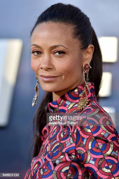 Actress Thandie Newton arrives at the Los Angeles premiere of HBO's 'Westworld' season 2 at The Cinerama Dome on April 16 2018 in Los Angeles...