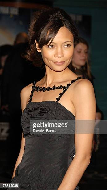 Actress Thandie Newton arrives at the World Premiere of 'Hot Fuzz' at Vue West End on February 13 2007 in London England