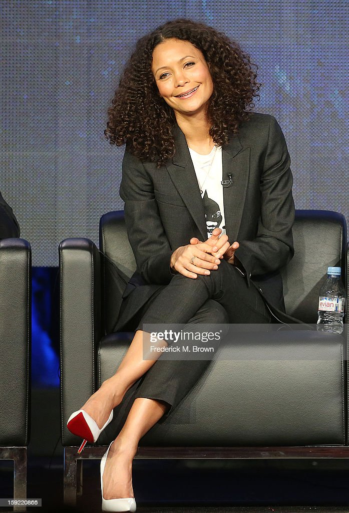 Actress Thandie Newton of the television show 'Rogue' speaks during the DIRECTV's Audience Network portion of the 2013 Winter Television Critics Association Press Tour at the Langham Hotel and Spa on January 9, 2013 in Pasadena, California.