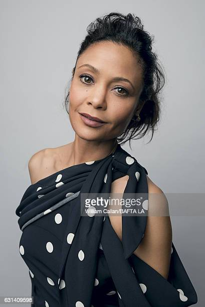 Actress Thandie Newton poses for a portraits at the BAFTA Tea Party at Four Seasons Hotel Los Angeles at Beverly Hills on January 7 2017 in Los...