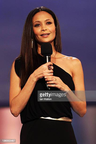 Actress Thandie Newton speaks on stage at the 2012 Laureus World Sports Awards at Central Hall Westminster on February 6, 2012 in London, England.