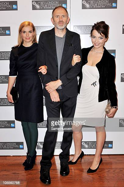 Actress Thekla Reuten director Anton Corbijn and actress Violante Placido attend 'The American' premiere during the 54th BFI London Film Festival at...