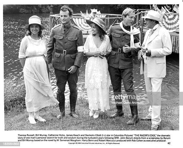 Actress Theresa Russell actor Bill Murray actress Catherine Hicks actor James Keach and actor Denholm Elliott on set of the Columbia Pictures movie...